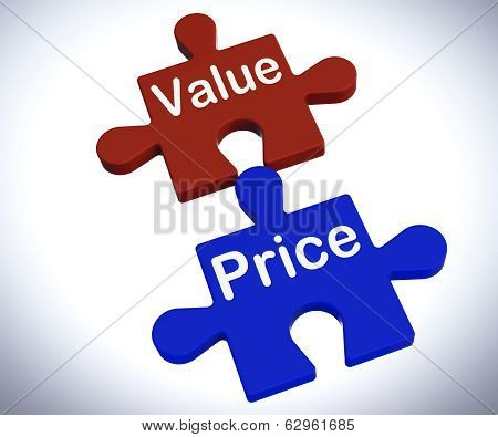 Value Price Puzzle Shows Worth And Cost Of Product