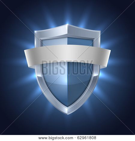 Glowing shield with blank ribbon safety badge