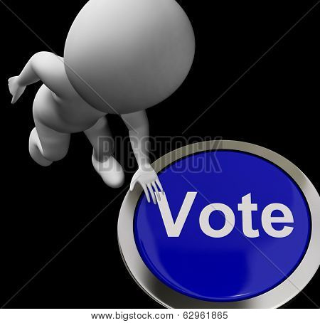 Vote Button Shows Poll Election Or Choosing