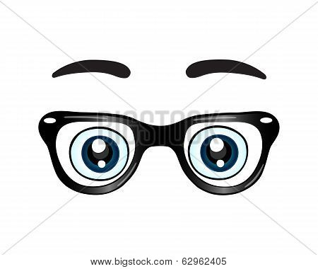 Glasses with eyes icon