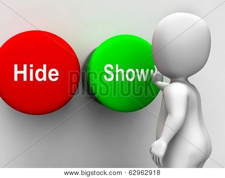Hide Show Buttons Means Seek Find Look Discover