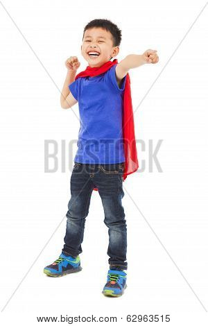 Smiling  Superhero Kid Make A Fist Pose