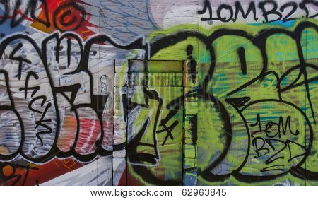 Graffiti Covered Wall And Door In Downtown Los Angeles