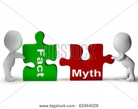 Fact Myth Puzzle Shows Facts Or Mythology