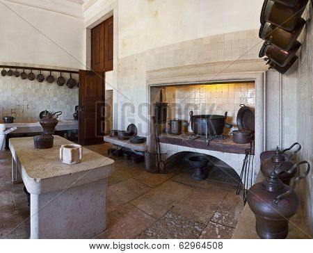 Mafra, Portugal - September 02, 2013: Infirmary Kitchen. Mafra National Palace, Convent and Basilica. Franciscan Religious Order. Baroque architecture.