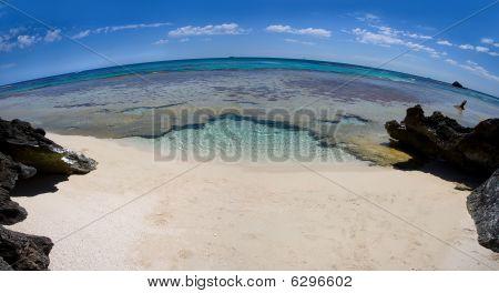 Deserted Beach Through A Fisheye Lens