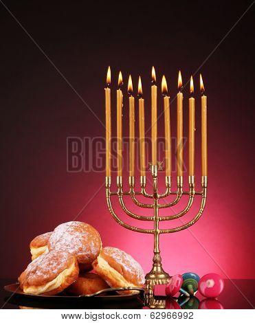 Festive composition for Hanukkah on dark background