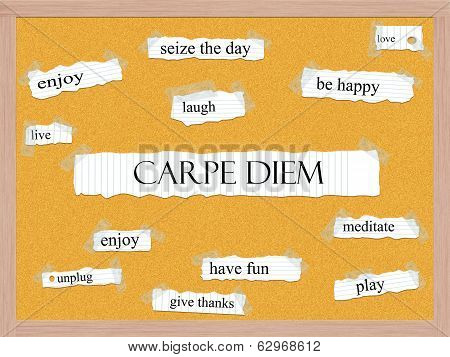 Carpe Diem Corkboard Word Concept
