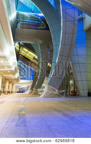 DUBAI, UAE - MARCH 24: Arches of terminal 3 at Dubai International Airport on March 24, 2014. This is the worlds largest airport terminal with over 1,713,000 m2 exclusively for Emirates airlines.