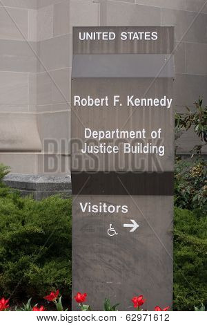 Sign For The United States Department Of Justice Building
