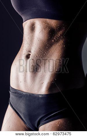 closeup studio shot of trained female body, fitness model abs