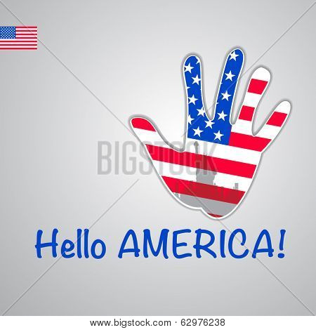 Template - hello USA. Background-hand with the flag of USA and New York's major attraction -Statue of Liberty. Vector