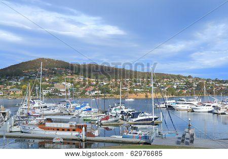 Yacht harbor in Hobart Tasmania