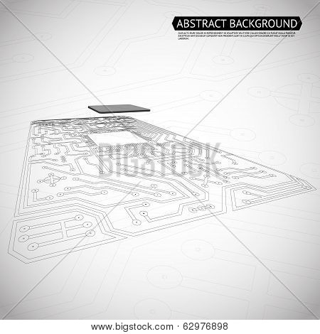 Abstract Technology Computer Interface Circuit Board Diagram Background Vector Illustration