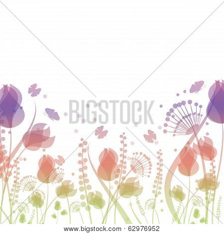 Summer Background With Flowers And Butterflies