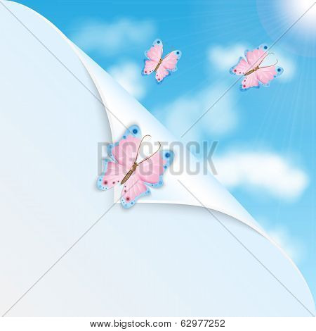 Pink Butterflies And Blue Sky With Clouds