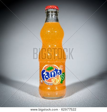 MOSCOW, RUSSIA-APRIL 4, 2014: Bottle of Coca Cola company soft drink Fanta Orange. Fanta is a global brand of fruit-flavored carbonated soft drinks created by The Coca-Cola Company.