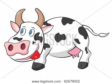 Cute Cow Cartoon Vector Illustration