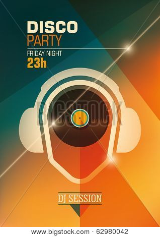 Modern disco party poster. Vector illustration.