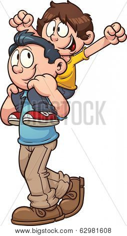 Father carrying son on shoulders. Vector clip art illustration with simple gradients. All in a single layer.