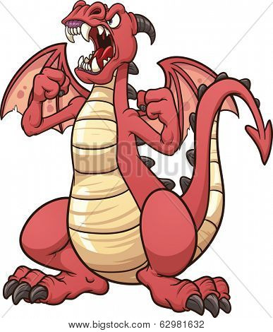 Angry cartoon dragon. Vector clip art illustration with simple gradients. All in a single layer.