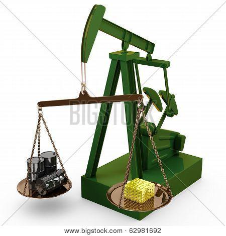 Oil rig pump as scales, 3d