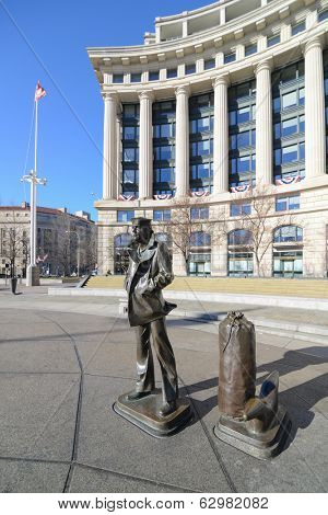 WASHINGTON, D.C. - JAN 20, 2013: Lone Sailor Statue at Navy Memorial which honors those who served in the Navy, Marine Corps, Coast Guard, and the Merchant Marine.