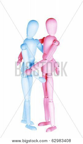 blue and red wooden dummies