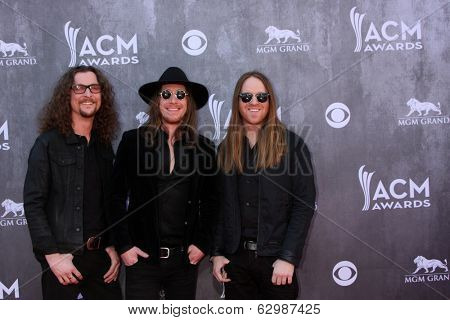 LAS VEGAS - APR 6:  Cadilac Three at the 2014 Academy of Country Music Awards - Arrivals at MGM Grand Garden Arena on April 6, 2014 in Las Vegas, NV