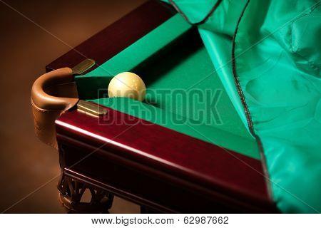Ball In Billiard Pocket On Table