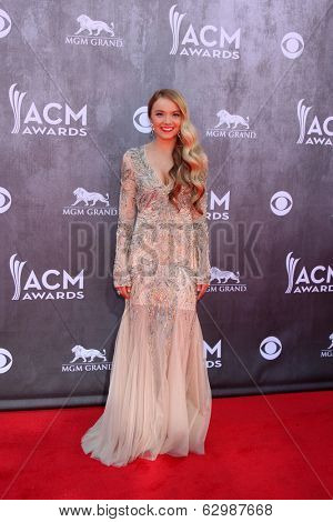 LAS VEGAS - APR 6:  Danielle Bradbury at the 2014 Academy of Country Music Awards - Arrivals at MGM Grand Garden Arena on April 6, 2014 in Las Vegas, NV