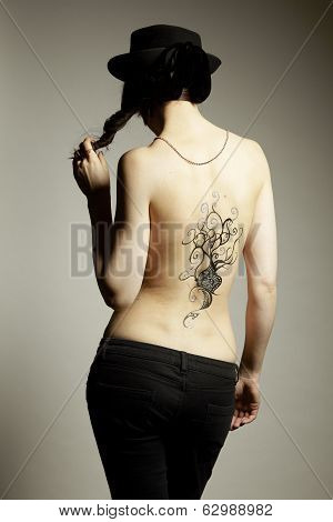 Body Art Temporary Tattoo On Female Back