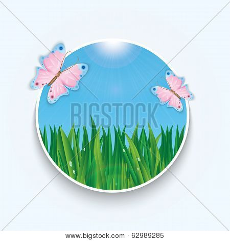 Summer Background With Green Grass And Blue Sky And Colorful Butterflies