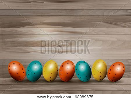 Holiday Easter eggs on wooden background. Vector.