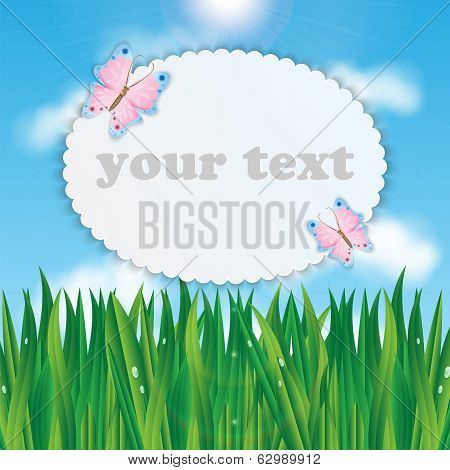 Frame For Your Text With Colorful Butterflies On A Background Of Blue Sky And Green Grass