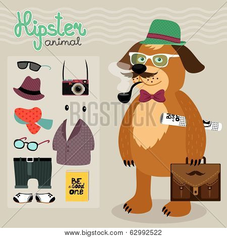Hipster elements for puppy dog