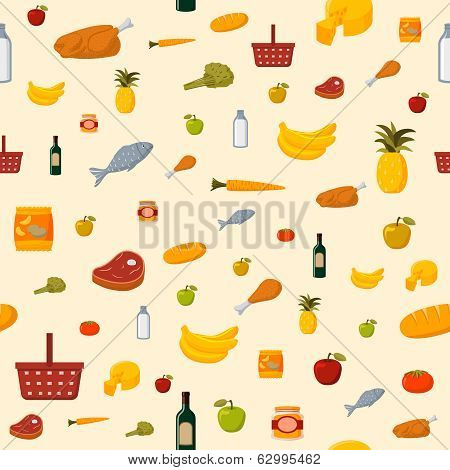 Supermarket food items seamless background
