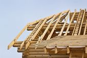 foto of rafters  - One side of the roof timbered houses built on the wasteland - JPG
