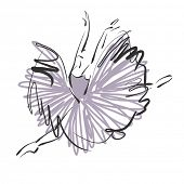 stock photo of tutu  - art sketched beautiful young ballerina with long tutu in fly dance - JPG