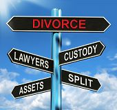 stock photo of split ends  - Divorce Signpost Meaning Custody Split Assets And Lawyers - JPG