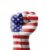 stock photo of rebel flag  - Fist of USA  - JPG