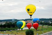 Hot Air Balloons In The Vilnius City Center