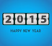 Happy new year 2015 vector card with mechanical timetable