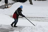 stock photo of snow shovel  - Lady shoveling the deep snow off her driveway after a snow storm - JPG