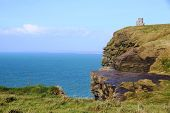 stock photo of cliffs moher  - A sunny day at Cliffs of Moher in County Claire - JPG