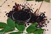 stock photo of elderberry  - Elderberry fruit on the table nature vitamin - JPG