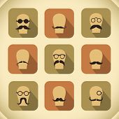 Icons set of hipster mustaches and glasses