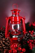 picture of kerosene lamp  - Red kerosene lamp on dark color background - JPG