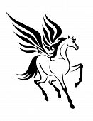 image of pegasus  - Black pegasus horse with wings for tattoo - JPG