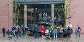 Leeuwarden, The Netherlands - April 6: Civilians Can For Once See And Climb A Dutch Combat Vehicle 9